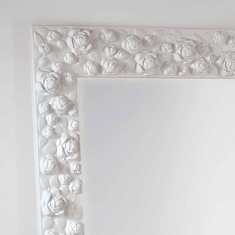 Gran espejo piso / pared blanca con la flor marco de madera