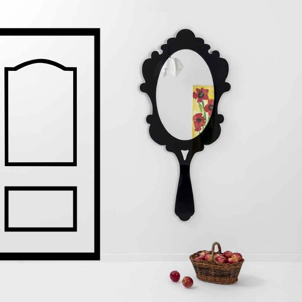 8f2159d1b913 Espejo de pared negro con marco decorado Nieve hecha en Italia