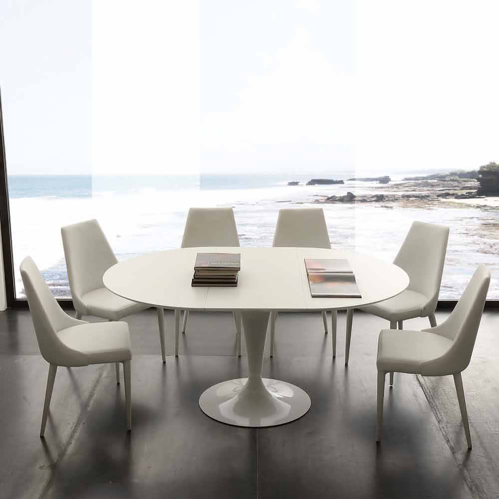 Mesa de comedor redonda extensible Topeka de hasta 170 cm, diseño moderno.