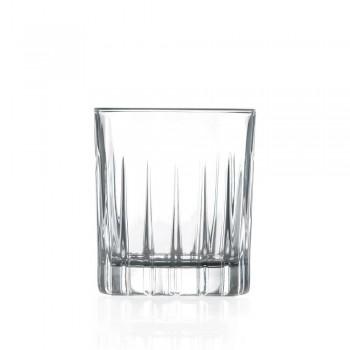 12 vasos de licor en cristal ecológico con decoraciones de diseño lineal - Senzatempo