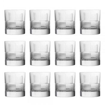 12 Vasos para Agua o Whisky Diseño Vintage en Cristal Decorado - Táctil