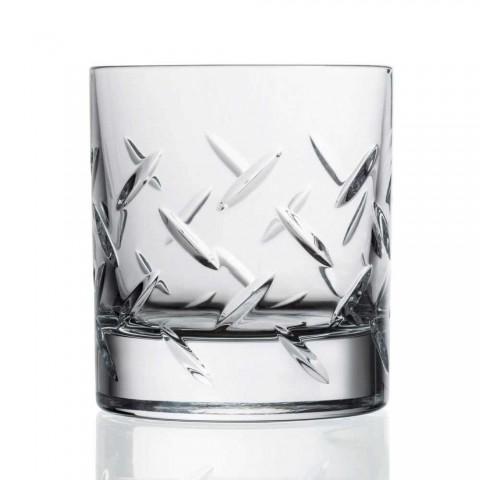 12 vasos para whisky o agua en cristal ecológico con decoración moderna - arritmia