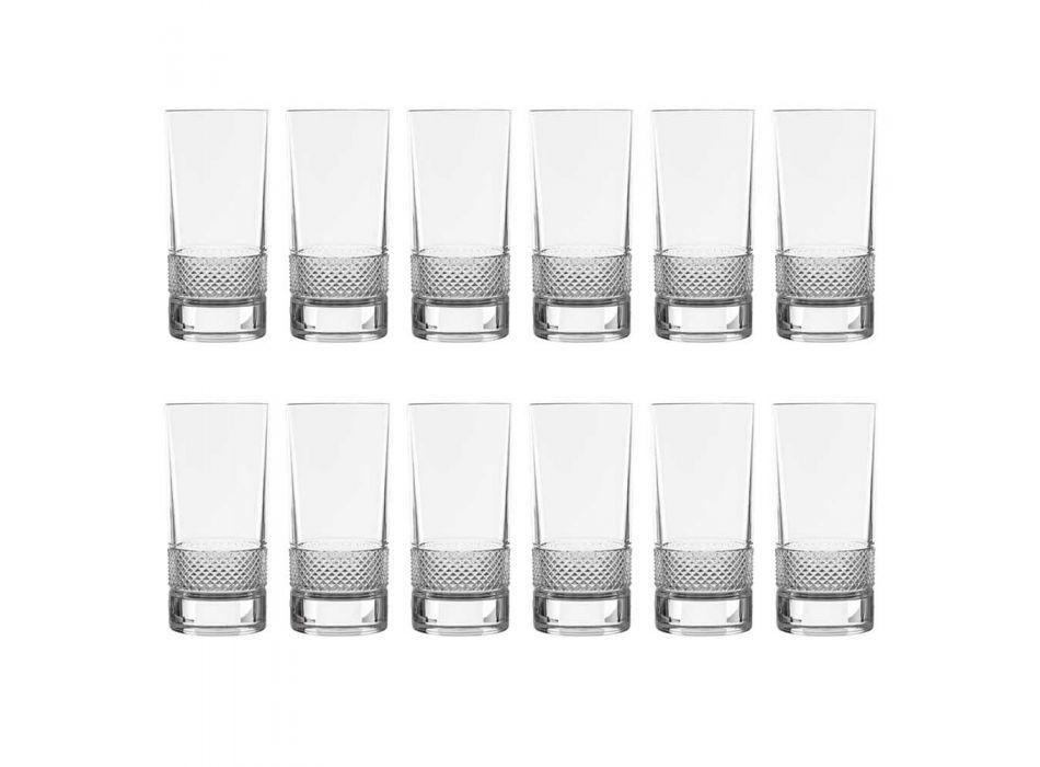 12 vasos altos de cristal ecológico decorado de lujo - Milito