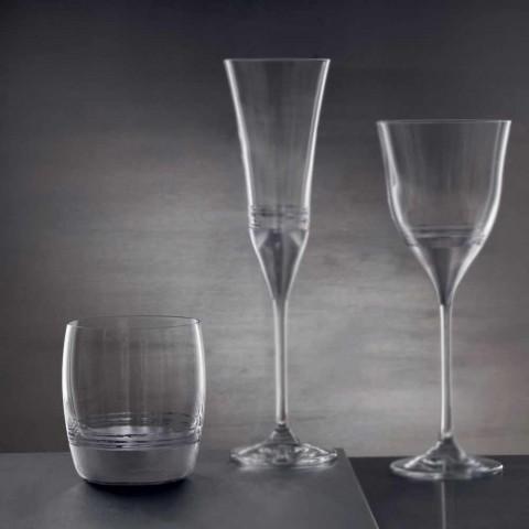 12 Vasos bajos para agua con hoja de oro, platino o bronce - Soffio