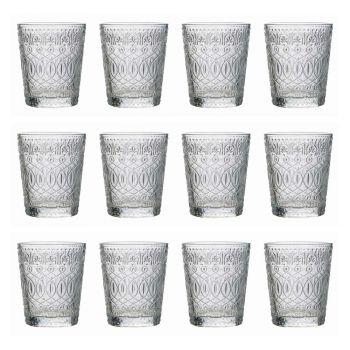 12 Vasos para Agua en Vidrio Transparente Decorado - Maroccobic