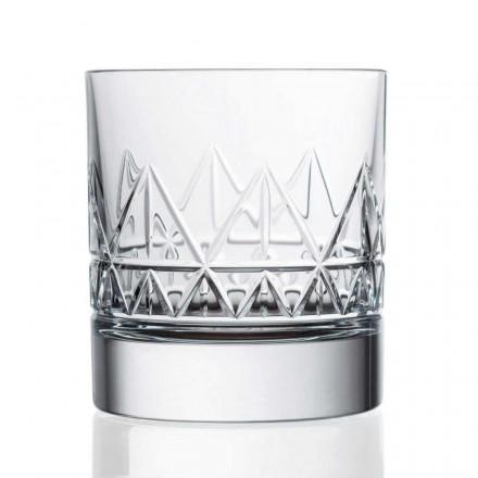 12 vasos de agua o whisky de diseño vintage de lujo de cristal - Arritmia