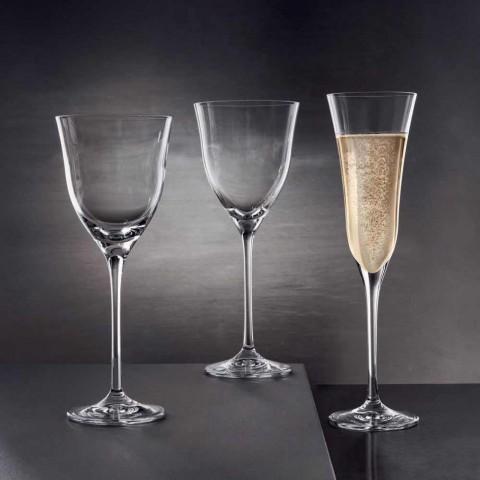 12 copas de vino blanco en cristal ecológico Minimal Luxury Design - Smooth