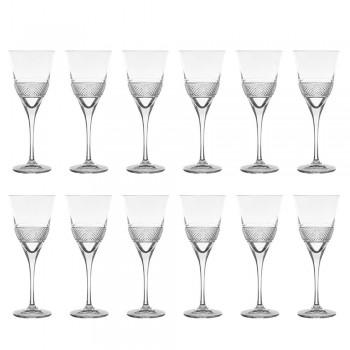 12 Copas de Vino Tinto en Eco Cristal Elegante Diseño Decorado - Milito