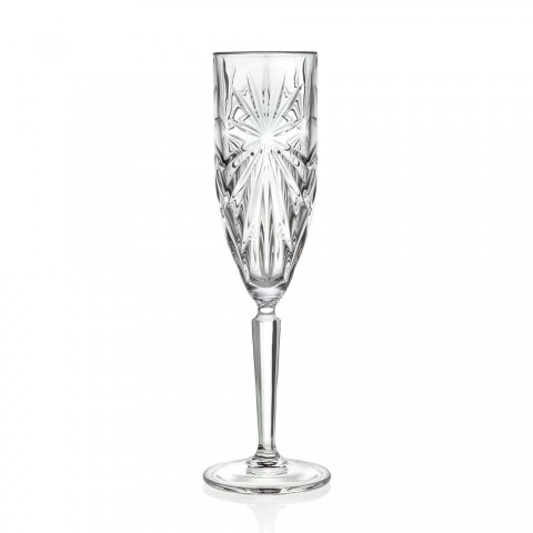 12 copas de flauta de vidrio para champán o prosecco en Eco - Daniele Crystal