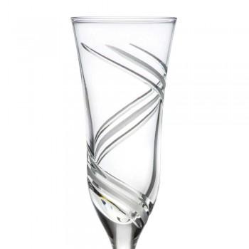 12 copas de flauta de champán en cristal ecológico decorado innovador - Ciclón