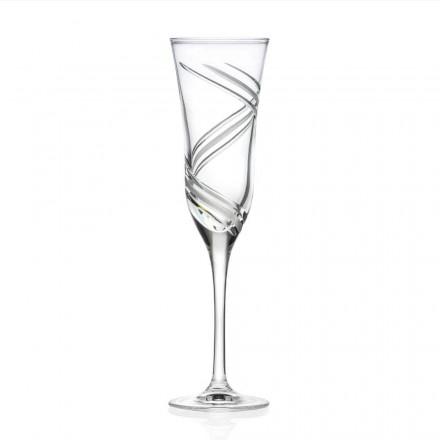 12 copas de champán en cristal ecológico decorado Made in Italy - Cyclone