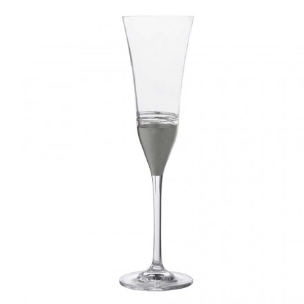 Vasos de cristal de 12 flautas con hoja de oro, bronce o platino, lujo - Soffio