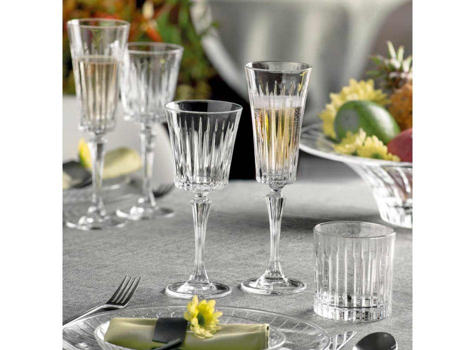 12 Copas Flauta para Vino Espumoso con Decoración de Cortes Lineales en Eco Crystal - Senzatempo
