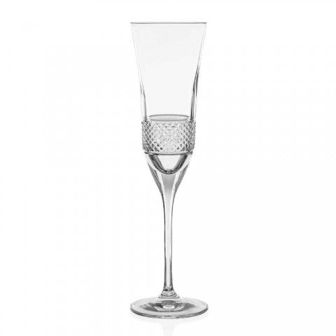 12 Copas Flauta para Champán en Cristal Ecológico con Decoración Manual - Milito