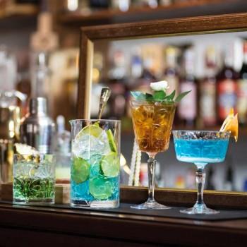 12 Vasos para Agua, Bebidas o Cóctel Diseño en Eco Cristal Decorado - Destino