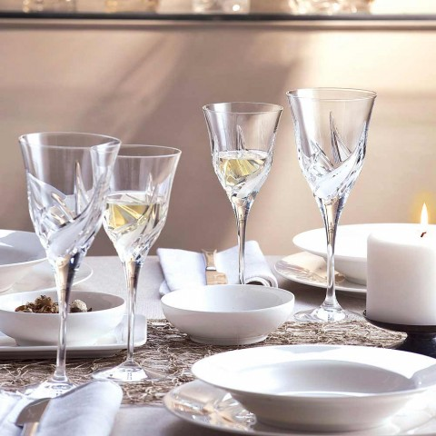12 copas de vino blanco de diseño de lujo en cristal ecológico decoradas a mano - Adviento