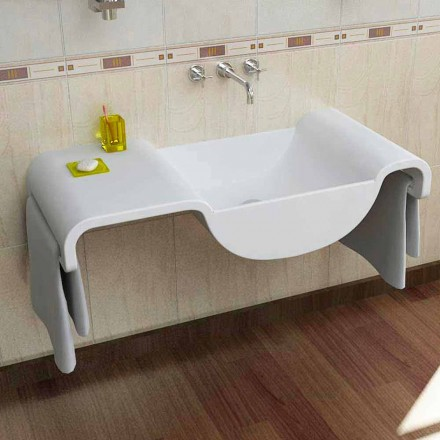 Lavabo blanco de diseño moderno Wave made in Italy