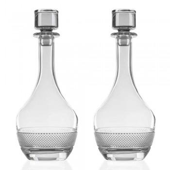 2 Botellas de Vino con Tapa de Cristal Ecológico Diseño Redondo - Milito
