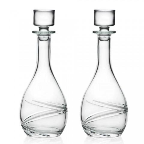 2 botellas de vino y tapa de cristal ecológico decorada a mano de lujo - Cyclone