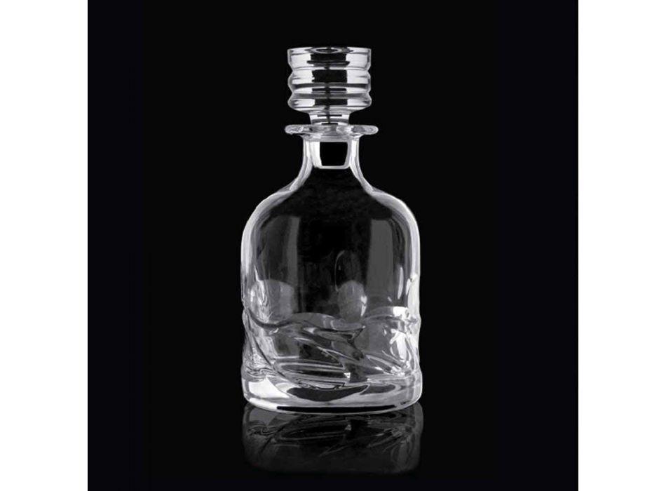 2 botellas de whisky de cristal con decoración ecológica y gorra de diseño de lujo - Titanio