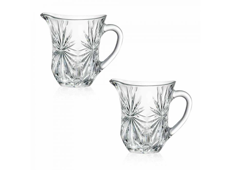 2 jarras de agua de diseño con decoración de vidrio de sonido superior ultraclaro - Daniele