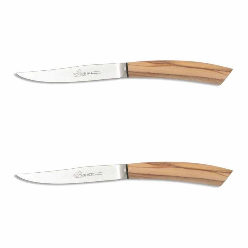 2 cuchillos de carne con mango de cuerno o madera Made in Italy - Marino