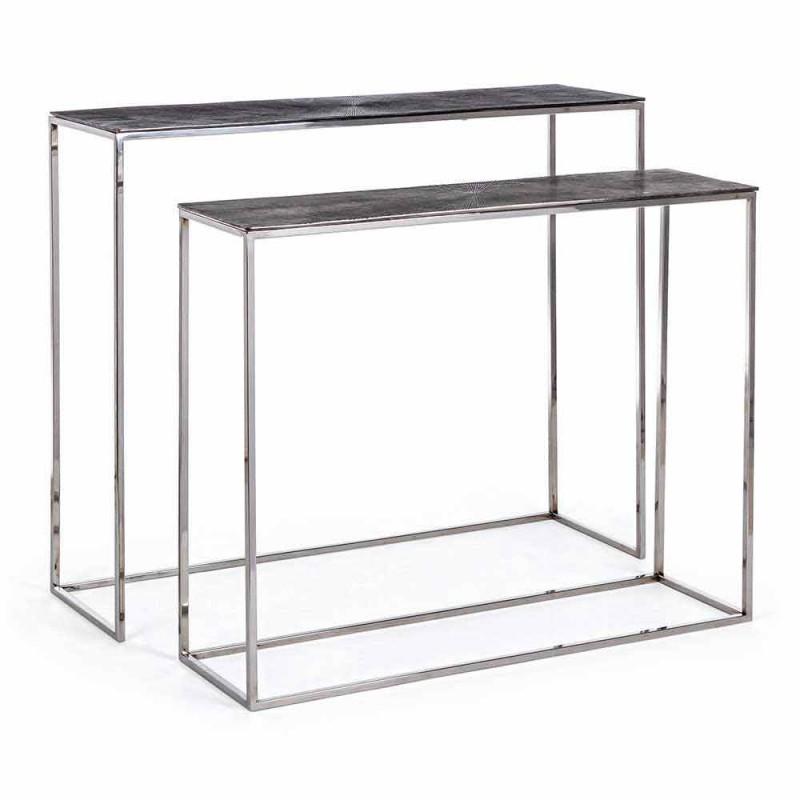 2 Consolle en acero y aluminio chapado Diseño moderno Homemotion - Narnia