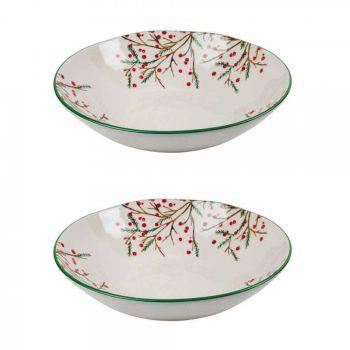 2 ensaladeras con adornos navideños en platos de porcelana para servir - Escoba de carnicero