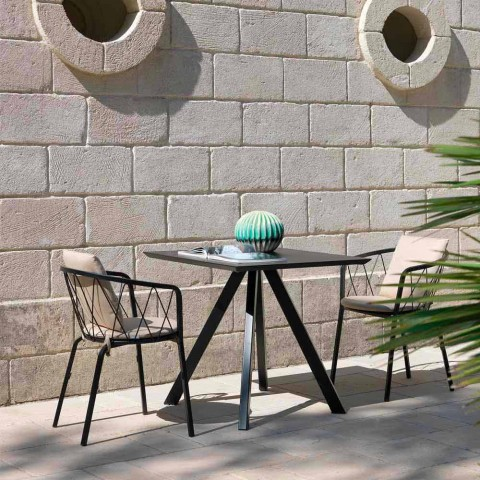 2 Sillones de exterior en metal pintado apilables Made in Italy - Adia