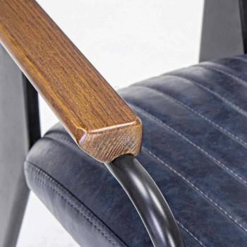 2 Sillas con apoyabrazos en polipiel efecto vintage Homemotion - Clare
