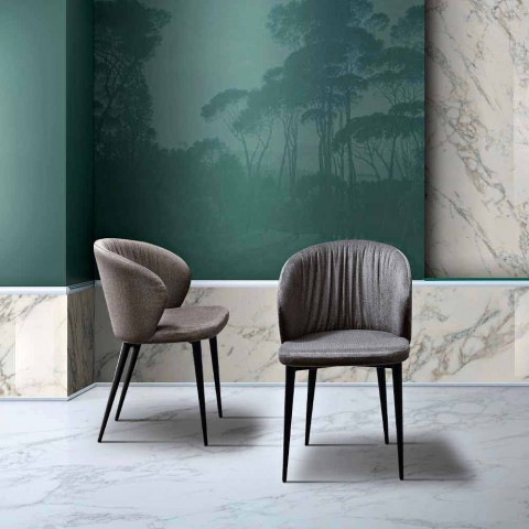 2 Sillas de Salón en Tela y Fresno de Elegante Diseño - Reginaldo