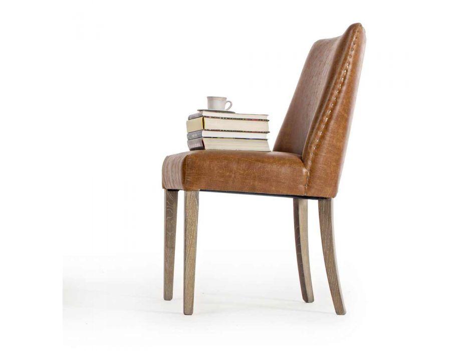 2 Sillas de diseño en polipiel marrón y madera de roble Homemotion - Gallia