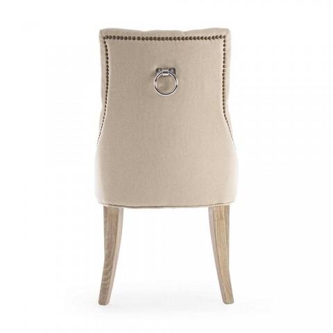 2 sillas modernas de lino con estructura de madera de roble Homemotion - Barna