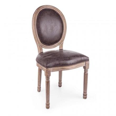 2 sillas de comedor de diseño clásico en poliéster Homemotion - Dalida