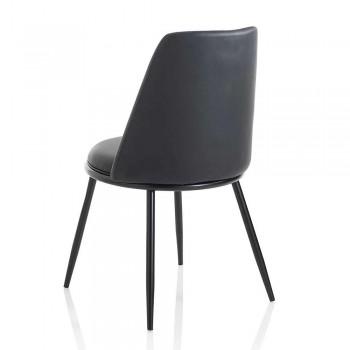 2 sillas de comedor modernas en cuero sintético y metal negro mate - Frizzi