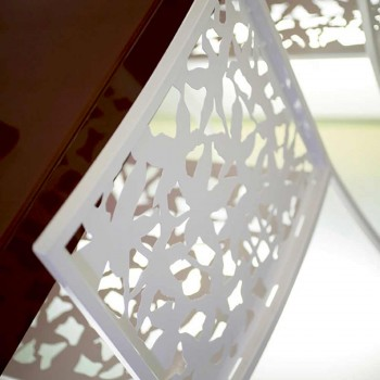 2 Taburetes en Metal Blanco Corte Láser Diseño Bajo o Alto - Patatix