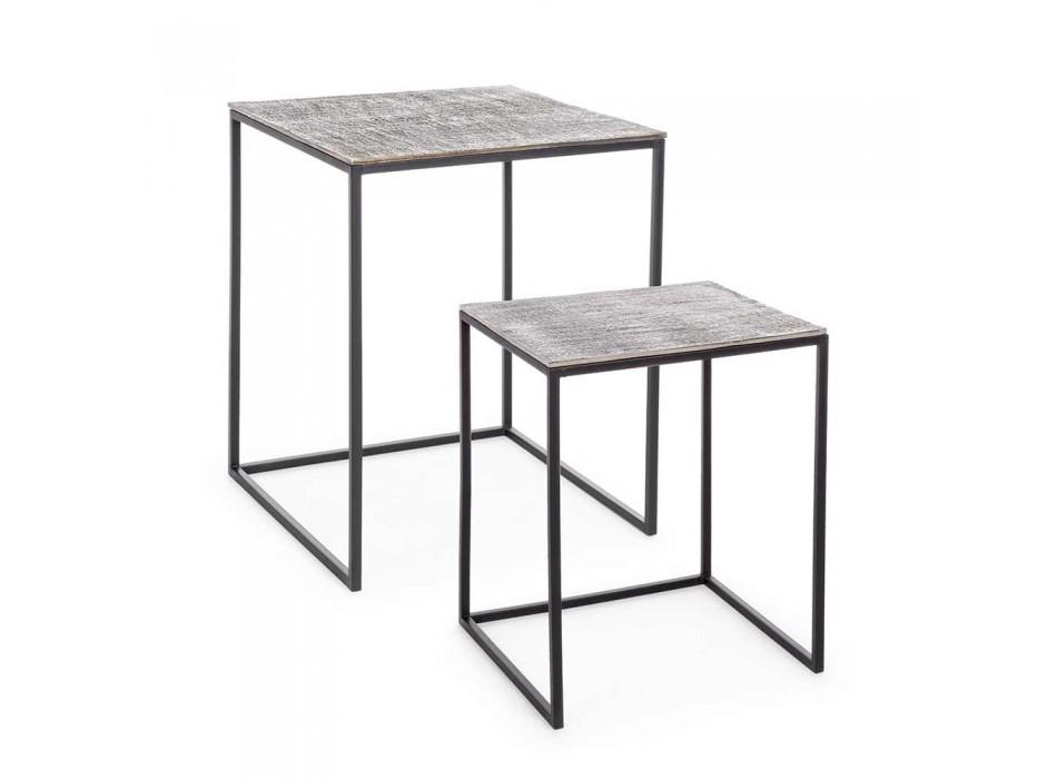 2 Mesas de centro Homemotion de aluminio y acero pintado - Sereno