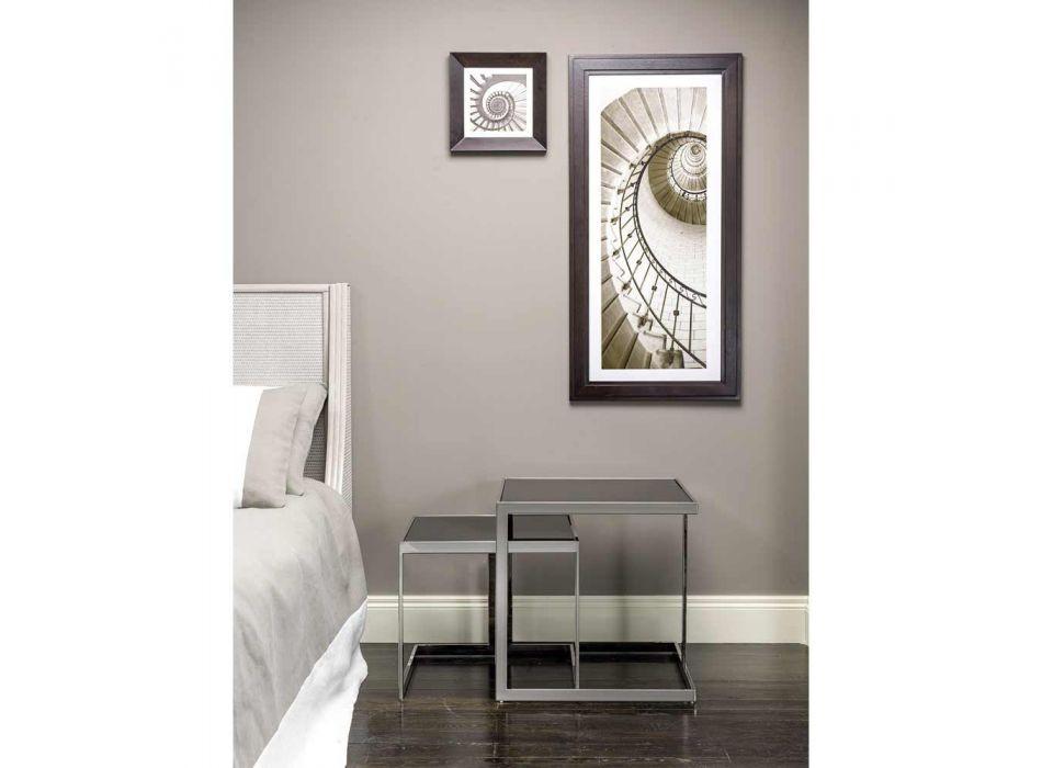2 mesas de diseño moderno en acero inoxidable con tapa de cristal Bubbi