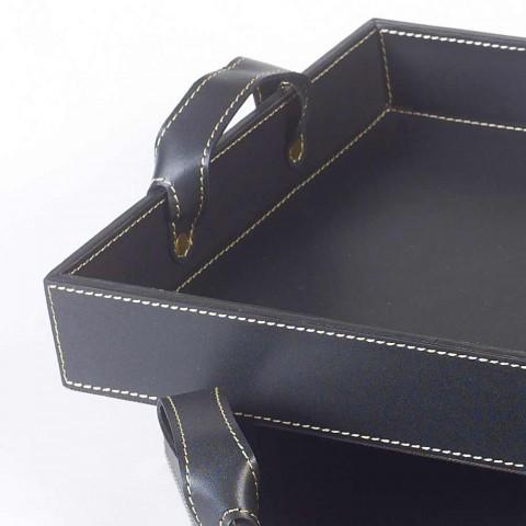 2 de cuero negro diseña 41x28x5cm bandeja y 45x32x6cm Anastasia