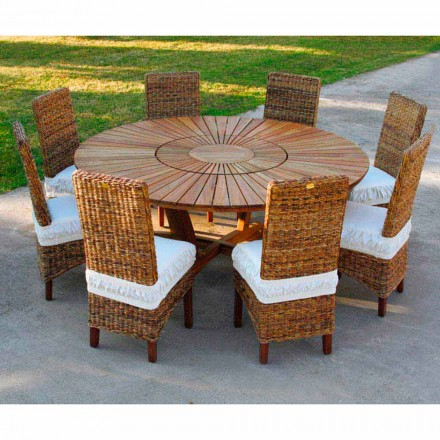 Mesa redonda de exterior de madera de teca maciza Real Table