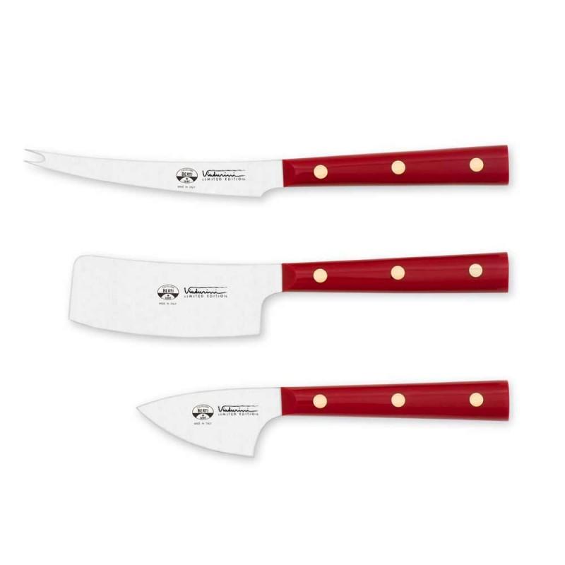 3 Cuchillos para queso Berti de acero inoxidable exclusivos para Viadurini - Asiago