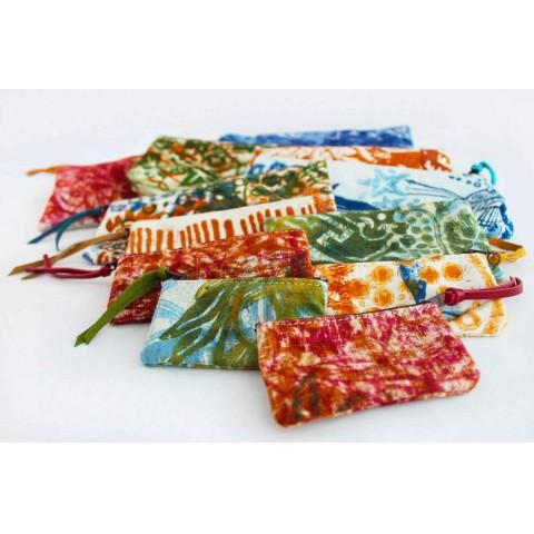 3 embragues de algodón impresos a mano en piezas únicas - Viadurini por Marchi