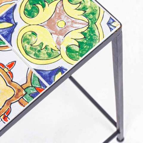 3 Mesas cuadradas de jardín en acero con decoración - Encantador