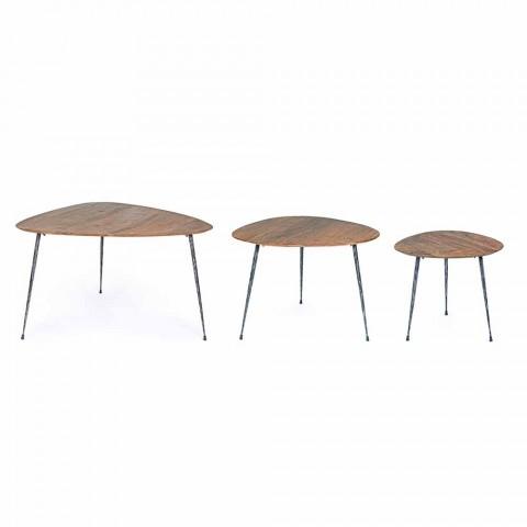 3 mesas de centro modernas con tapa de madera de mango Homemotion - Kalidi