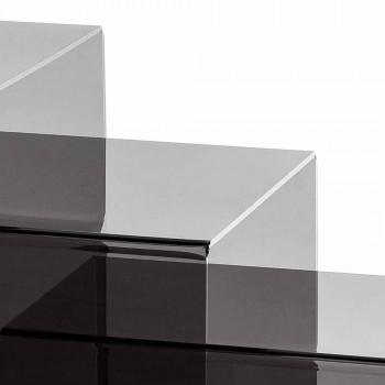 Amalia, 3 mesas de centro superpuestas ahumadas, diseño moderno, hecho en Italia