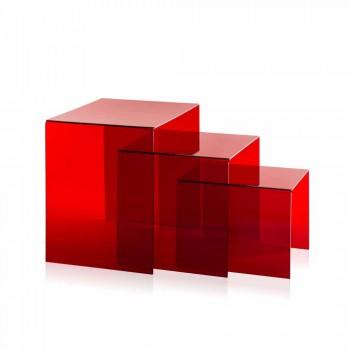 3 mesas apilables rojas de Amalia, diseño moderno, hechas en Italia
