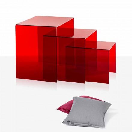 3 mesas apilables rojas de Amalia, diseño moderno, fabricadas en Italia