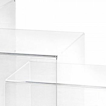 3 mesas superpuestas transparentes de diseño Amalia, fabricadas en Italia.