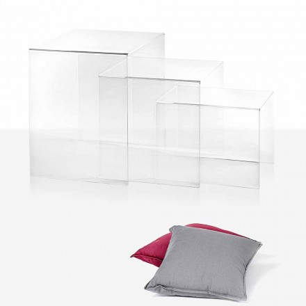 3 mesas superpuestas transparentes de diseño Amalia, fabricadas en Italia