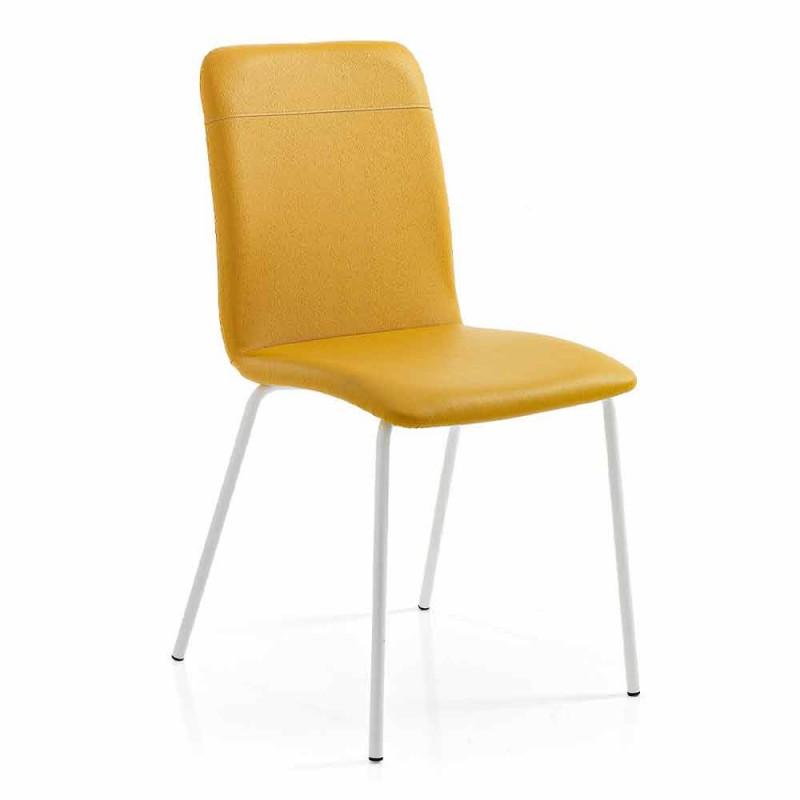 4 sillas de cocina o salón en ecopiel de colores y diseño metálico - Hermione